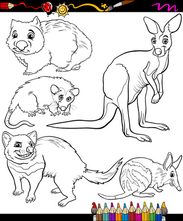 Coloring Book or Page Cartoon Illustration of Black and White Marsupials Wild Animals Characters for Children