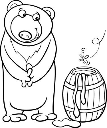 Black and White Cartoon illustration of Cute Bear with Barrel of Honey  for Coloring Book Vector
