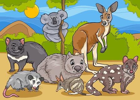 wombat: Cartoon ilustraciones de divertidos Marsupiales Mamíferos Personajes Animales Mascot Grupo