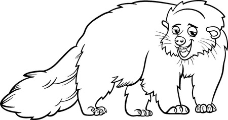 bearcat: Black and White Cartoon Illustration of Funny Bearcat Wild Animal for Coloring Book Illustration