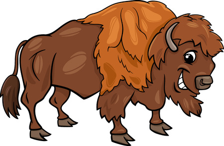 furry tail: Cartoon Illustration of Funny Bison or American Buffalo Wild Animal Illustration
