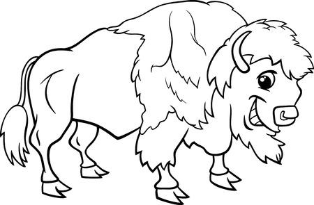 面白いバイソンまたはアメリカのバッファロー野生動物の塗り絵の黒と白の漫画イラスト