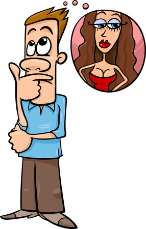 sexy funny: Cartoon illustration of Funny Man Thinking about Beautiful Woman