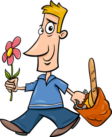 blissful: Cartoon illustration of Funny Man with Flower and Shopping Illustration