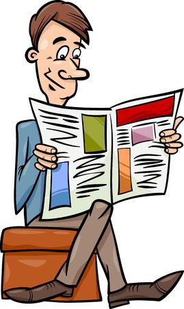 reading newspaper: Cartoon illustration of Funny Man Reading a Newspaper