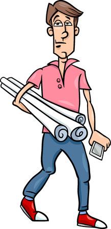 arquitecto caricatura: Ilustración de dibujos animados de Funny hombre joven o de Arquitecto con planes y Teléfono
