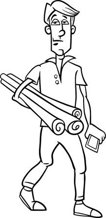 arquitecto caricatura: Negro animados de blanco y la ilustración de Funny hombre joven o de Arquitecto con planes y Teléfono para Coloring Book Vectores