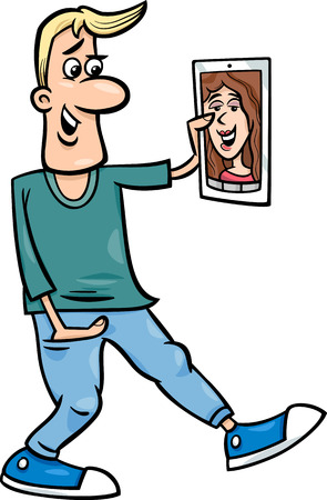 Cartoon illustration of Funny Man Video Chatting on Tablet or Phone Vector