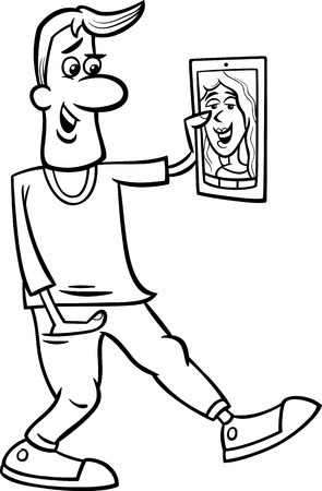 woman tablet pc: Black and White Cartoon illustration of Funny Man Video Chatting on Tablet or Phone for Coloring Book Illustration