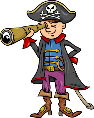 corsair: Cartoon Illustration of Funny Pirate or Corsair Captain Boy with Spyglass and Jolly Roger Sign