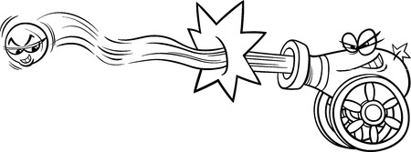 Black and White Cartoon Illustration of Funny Firing Cannon and Cannonball for Coloring Book