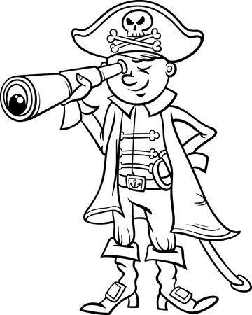 corsair: Black and White Cartoon Illustration of Funny Pirate or Corsair Captain Boy with Spyglass and Jolly Roger Sign for Coloring Book