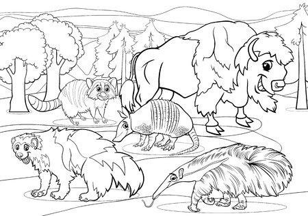 Black and White Cartoon Illustrations of Funny American Mammals Animals Characters Group for Coloring Book Vector