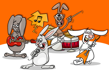 Cartoon Illustration of Funny Rabbits Band Playing Rock Music Concert