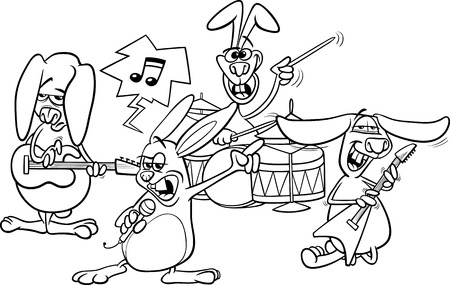 vocalist: Coloring Book or Page Cartoon Illustration of Black and White Funny Rabbits Band Playing Rock Music Concert Illustration