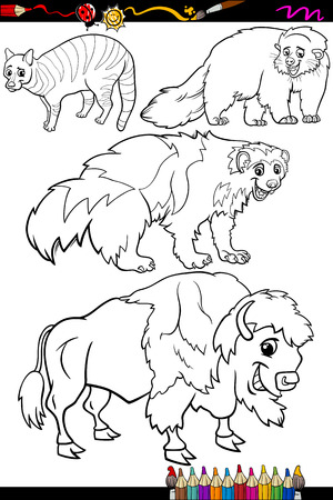 wolverine: Coloring Book or Page Cartoon Illustration of Black and White Wild Mammals Animals Characters for Children Illustration