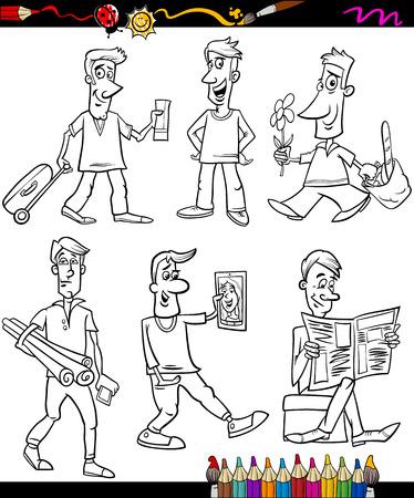 omini bianchi: Coloring Book o Pagina Fumetto Illustrazione di bianco e nero Uomini caratteri