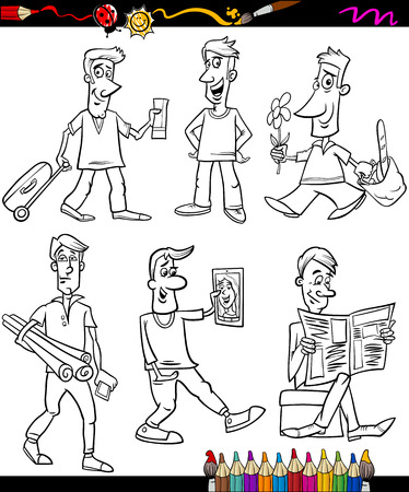Coloring Book or Page Cartoon Illustration of Black and White Men Characters Vector