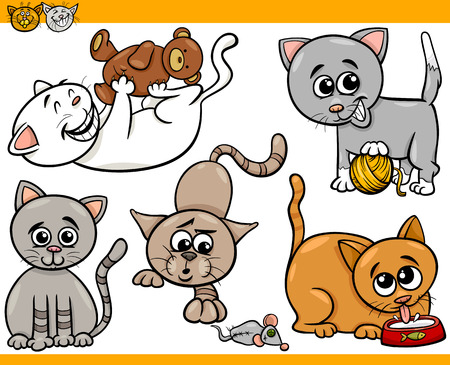 Cartoon Illustration of Happy Cats or Kittens Pets Set Vector