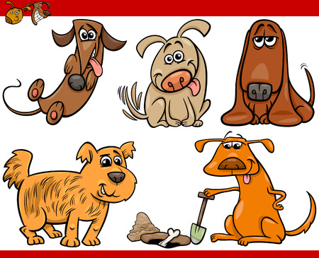 Cartoon Illustration of Happy Dogs or Puppies Pets Set Vector