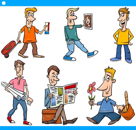 arquitecto caricatura: Ilustración de dibujos animados Conjunto de caracteres de los hombres del comic en Situaciones