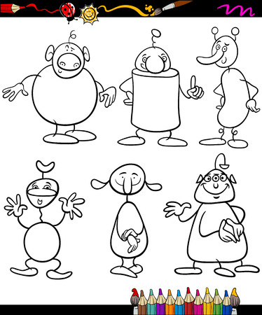 fantasy book: Coloring Book or Page Cartoon Illustration of Black and White Fantasy Characters or Aliens for Children