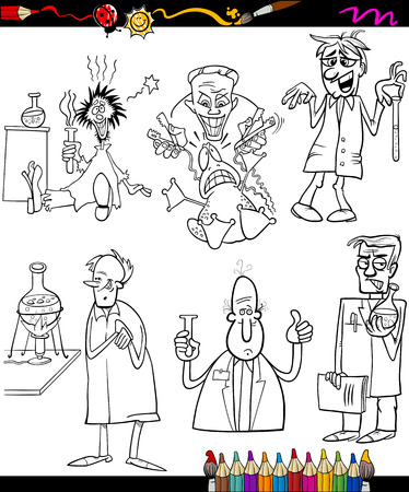 Coloring Book or Page Cartoon Illustration of Black and White Scientists Characters for Children Vector