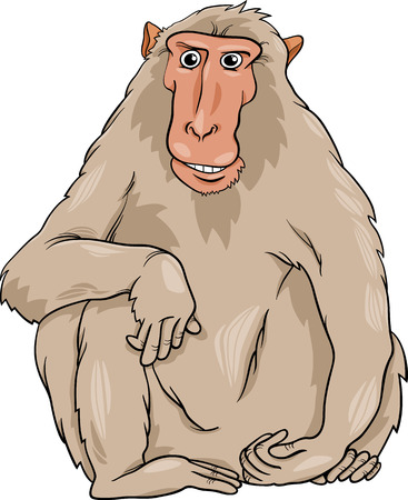 shaggy: Cartoon Illustration of Funny Macaque Monkey Primate Animal Illustration