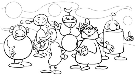 Black and White Cartoon Illustrations of Fantasy Funny Characters or Aliens Group for Coloring Book Vector