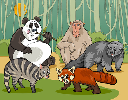 Cartoon Illustrations of Funny Asian Mammals Animals Characters Group Vector