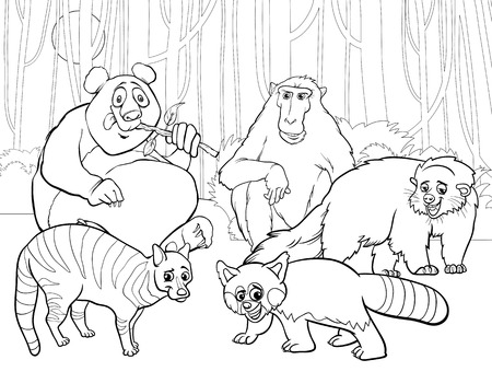 Black and White Cartoon Illustrations of Funny Asian Mammals Animals Characters Group for Coloring Book Vector