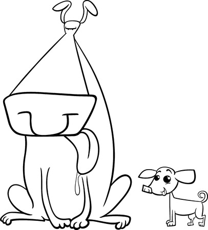 big dog: Black and White Cartoon Illustration of Big Dog and Small Chihuahua for Coloring Book