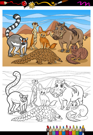Coloring Book or Page Cartoon Illustration of Black and White Funny African Mammals Animals Characters Group for Children Vector