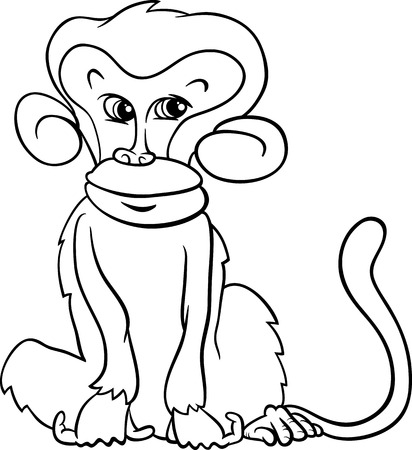 primate: Black and White Cartoon Illustration of Cute Monkey Primate Animal for Coloring Book