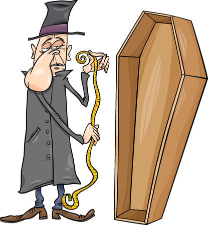undertaker: Cartoon Illustration of Undertaker with Centimeter Measure and Coffin Illustration