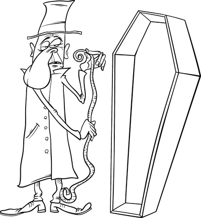 grotesque: Black and White Cartoon Illustration of Undertaker with Centimeter Measure and Coffin for Coloring Book