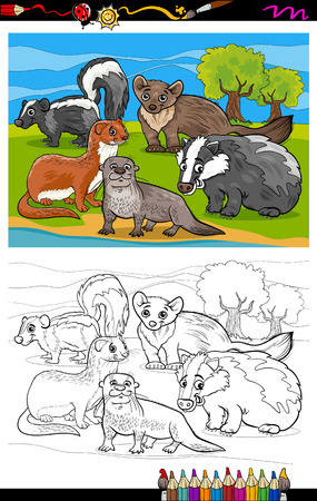 marten: Coloring Book or Page Cartoon Illustration of Black and White Funny Mustelids Mammals Animals Characters Group for Children