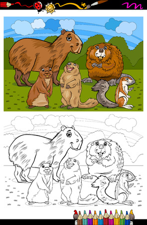 Coloring Book or Page Cartoon Illustration of Black and White Funny Rodents Mammals Animals Mascot Characters Group for Children Vector