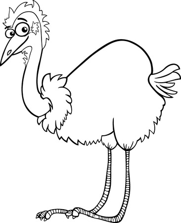 Black and White Cartoon Illustration of Funny Emu Ostrich Bird Animal for Coloring Book Vector