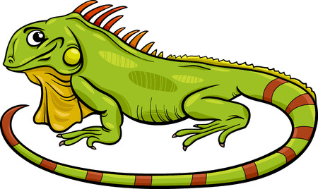 Cartoon Illustration of Funny Iguana Lizard Reptile Animal Character