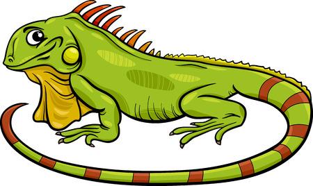 Ilustración de dibujos animados divertido del personaje de Iguana Lagarto Reptil Animal