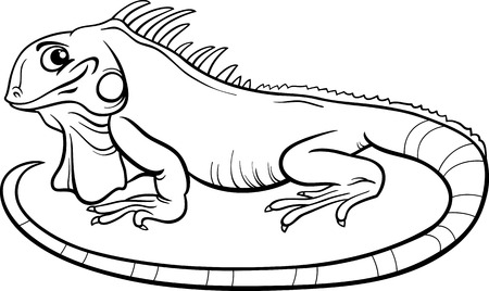Black and White Cartoon Illustration of Funny Iguana Lizard Reptile Animal Character for Coloring Book Vectores