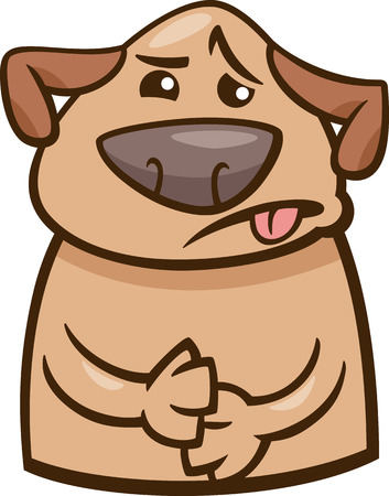 cartoon puppy: Cartoon Illustration of Funny Dog Expressing Sick Mood or Emotion Illustration