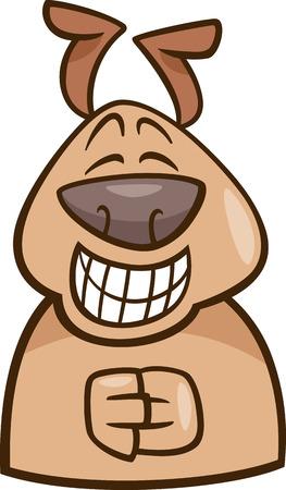 sneer: Cartoon Illustration of Funny Dog Expressing Green Mood or Emotion
