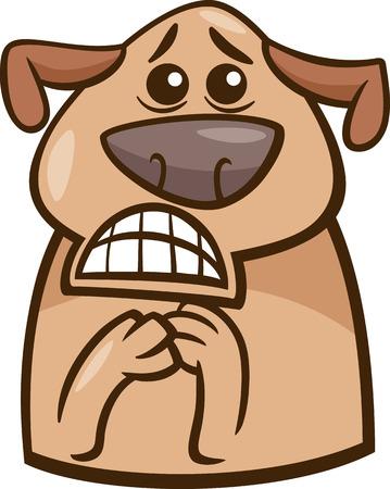 Cartoon Illustration of Funny Dog Expressing Terrified Mood or Emotion