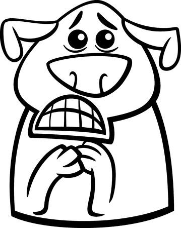 perro asustado: Historieta blanco y negro Ilustración de Funny Dog Expresando Aterrorizado Mood o la emoción por Coloring Book Vectores