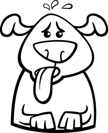 belch: Black and White Cartoon Illustration of Funny Dog Breathing because of Heat for Coloring Book