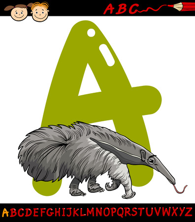 Cartoon Illustration of Capital Letter A from Alphabet with Anteater Animal for Children Education Vector