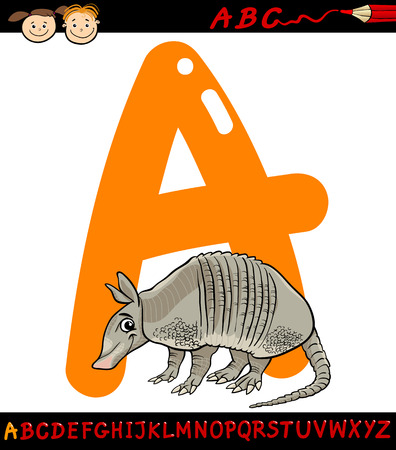 Cartoon Illustration of Capital Letter A from Alphabet with Armadillo Animal for Children Education Vector