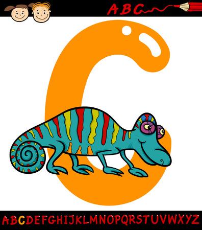 children education: Ejemplo de la historieta de May�scula C del alfabeto con Camale�n Animal para la Educaci�n Infantil